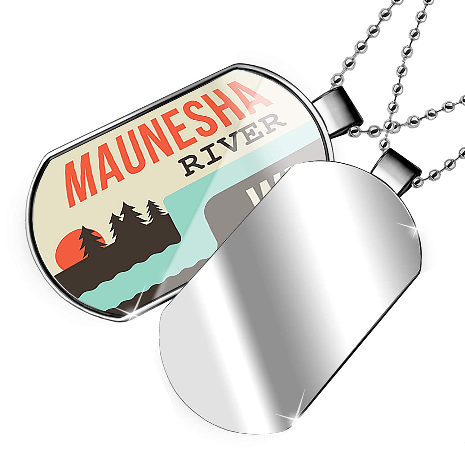 NEONBLOND Personalized Name Engraved USA Rivers Maunesha River Wisconsin Dogtag Necklace