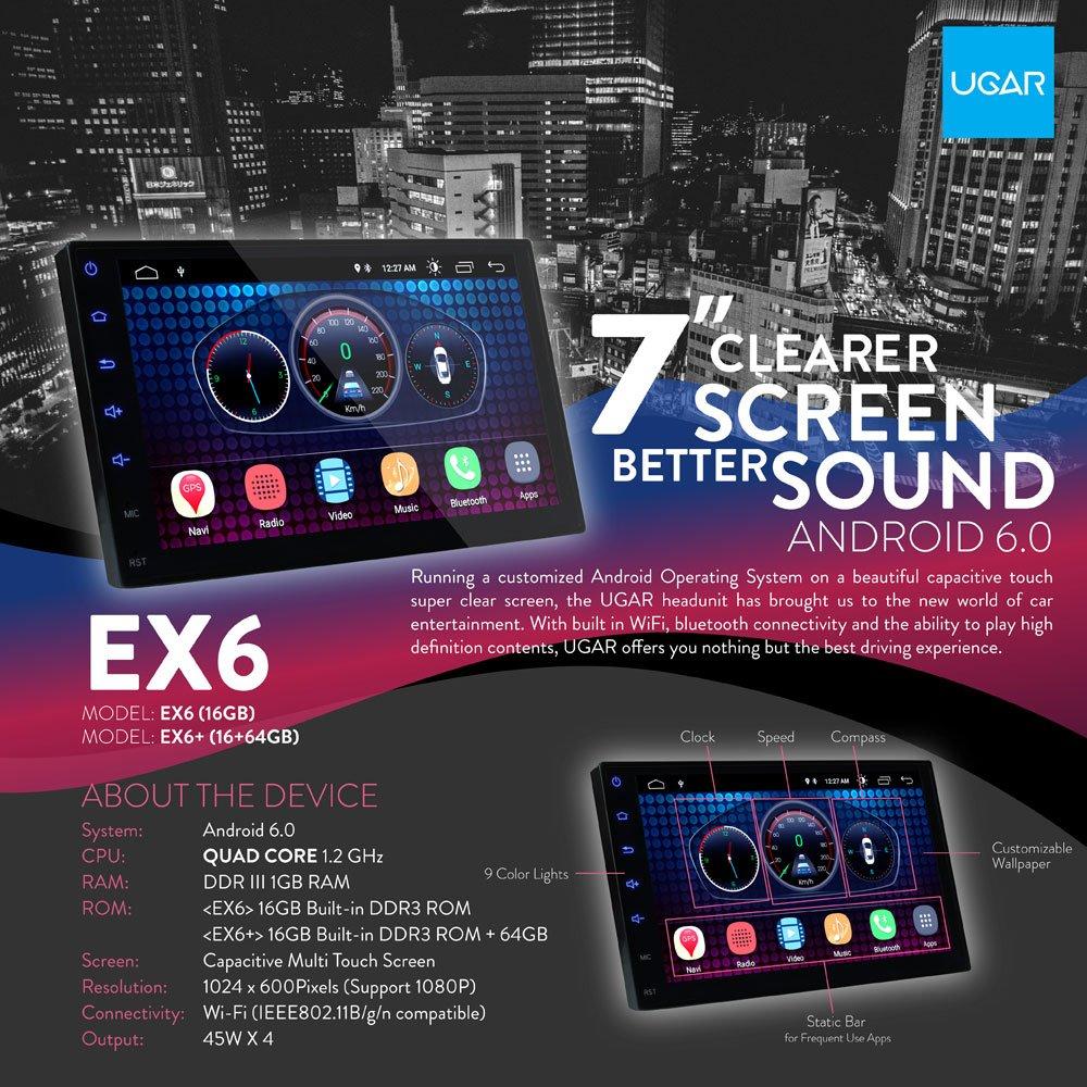 "Amazon.com: UGAR 7"" Universal Car Stereo 1GB 16GB Android 6.0 Head Unit  Double Din Touch Screen Radio Bluetooth WiFi Car Audio Indash GPS  Navigation: Car ..."