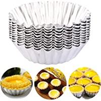 Luxerlife 20 Pack Egg Tart Aluminum Cupcake Cake Cookie Mold Pudding Mould Tin Baking Tool Reusable Nonstick Ripple…