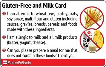 Amazon com: Gluten-Free and Milk Translation Card - Translated in