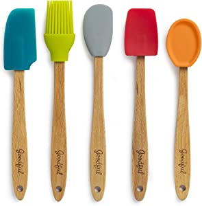 Goodful Silicone and Beechwood Mini Kitchen Utensil Set, for Cooking, Baking or Reaching Into Small Jars, Easy to Clean, Safe for Non-Stick Cookware, 5 Piece Tool, Multicolor