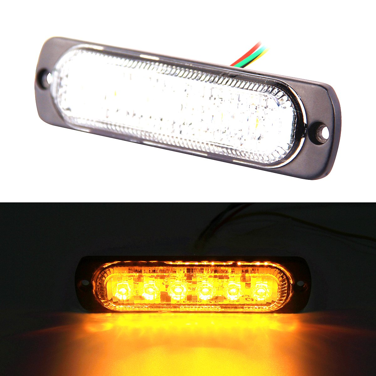 3W premium super thin 6 led amber emergency strobe light for vehicles FOXSTAR 4333226561