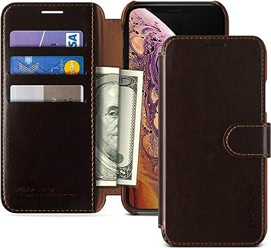 VRS Design 905090 Funda Iphone X / Iphone Xs Carcasa de Cuero [Marrón] Funda Delgado Cuero Pu