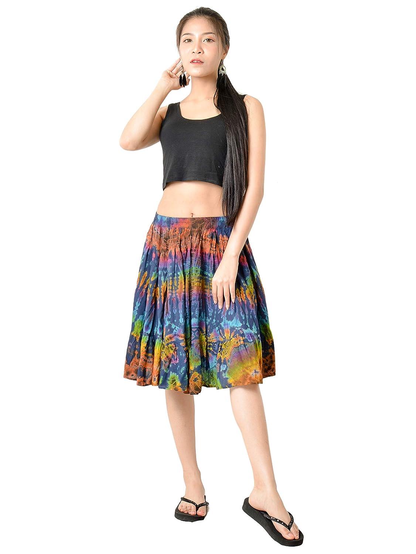 f59d940640 Orient Trail Women's Bohemian Hippie Tie Dye Knee Length Skirt at Amazon  Women's Clothing store: