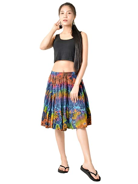fb6b7de2617 Orient Trail Women s Hippie Bohemian Boho Tie Dye Knee Length Mini Skirt  Small Dark Blue