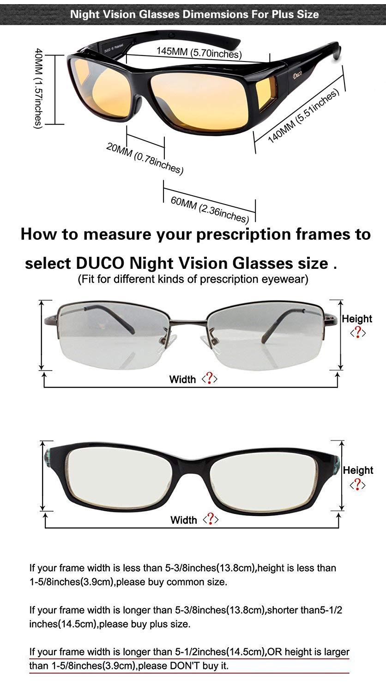 L - Rot DUCO Polarisierte Nachtfahrtbrille /Überbrille f/ür Korrektionsbrille f/ür Brillentr/äger Polarisierte Nachtsichtbrille 8953Y
