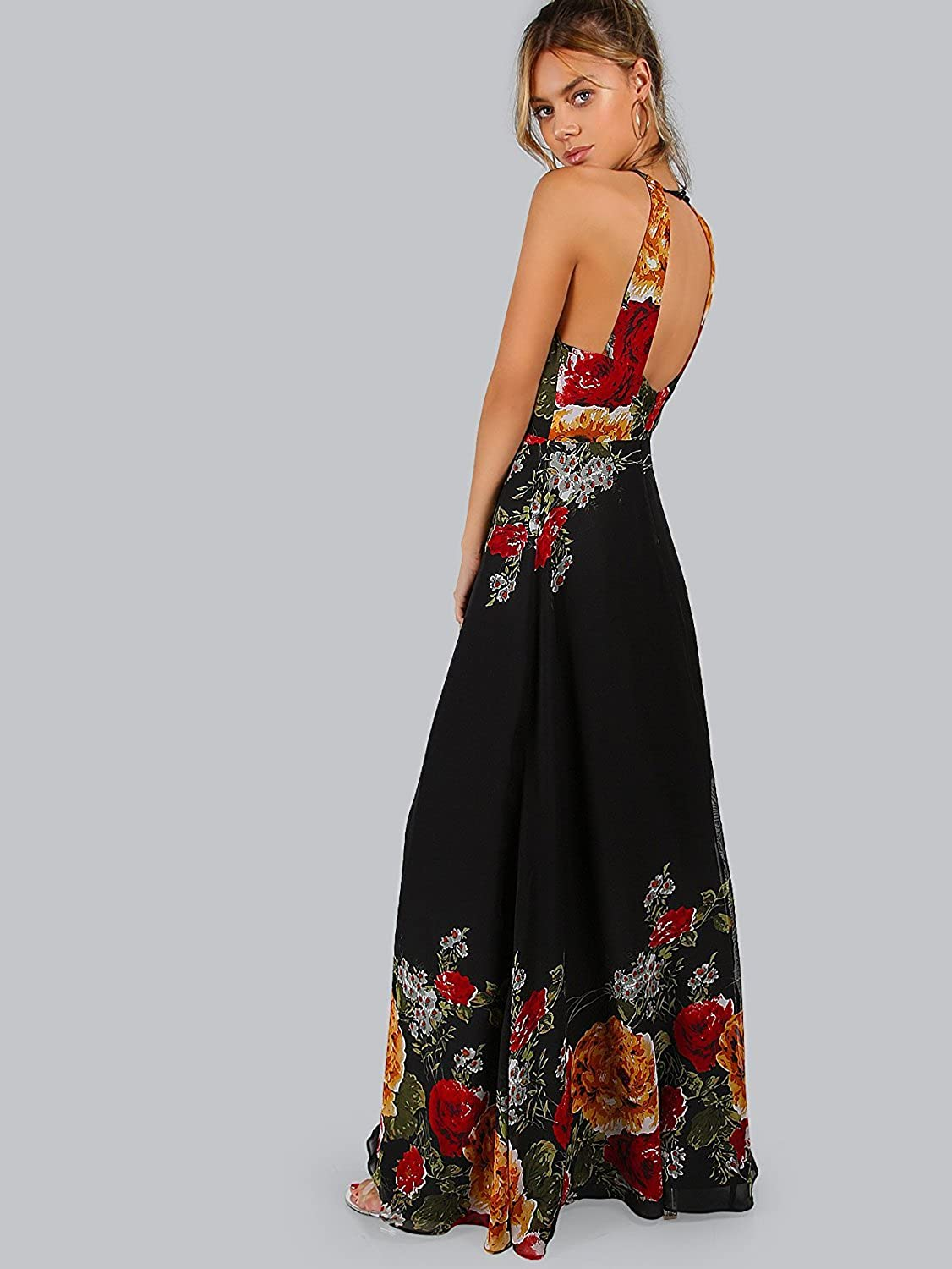 1fa2d6c7e4 Amazon.com: Floerns Women's Sleeveless Halter Neck Vintage Floral Print  Maxi Dress: Clothing
