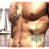 Tattoo ID XXL Seeleute Herren Anker Tattoo Ephemere temporäre Hypoallergen hergestellt in Frankreich 1Weihnachts 22cm x 14,5cm Herren Damen