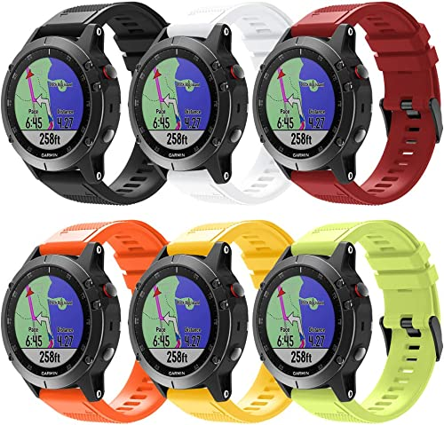 Junboer Compatible Fenix 5 Band, 22mm Width Easy Fit Soft Silicone Watch Bands Sport Replacement Strap for Fenix 5 Fenix 5 Plus Fenix 6 Fenix 6 Pro Forerunner 935 Forerunner 945 Approach S60 Quatix 5