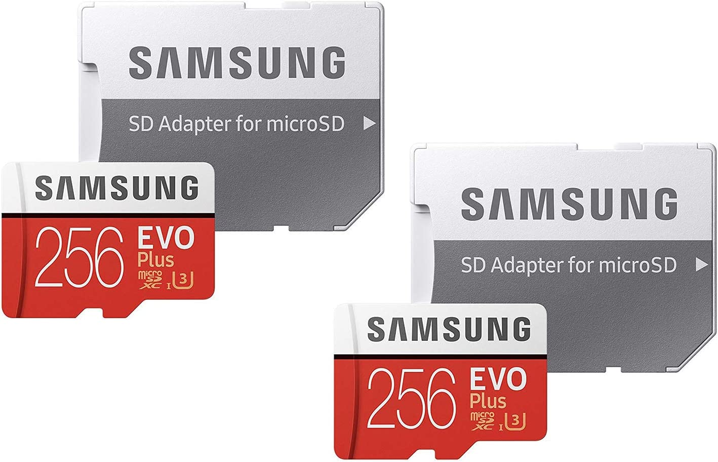Samsung 256GB EVO Plus Class 10 UHS-I microSDXC U3 with Adapter (MB-MC256GA) (2 Pack)