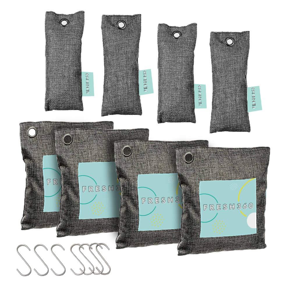 Bamboo Odor Eliminator Bags (8 Pack), Bamboo Charcoal Air Purifying Bag w/Hooks, Closet Dehumidifier, Car Scent Freshener, Gym Bag Deodorizer, Shoe Odor Eliminators, 200g & 50g Bamboo Deodorizer Bags by Fresh 360