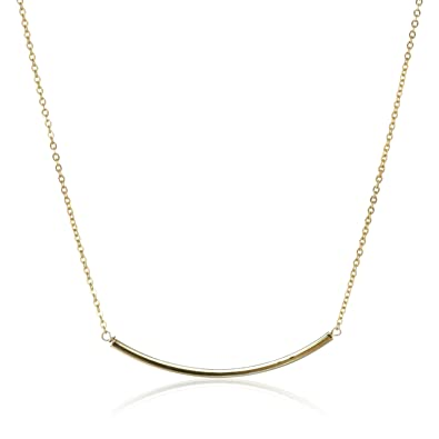 Amazoncom Yochi Delicate GoldPlated Bar Necklace 18 Chain