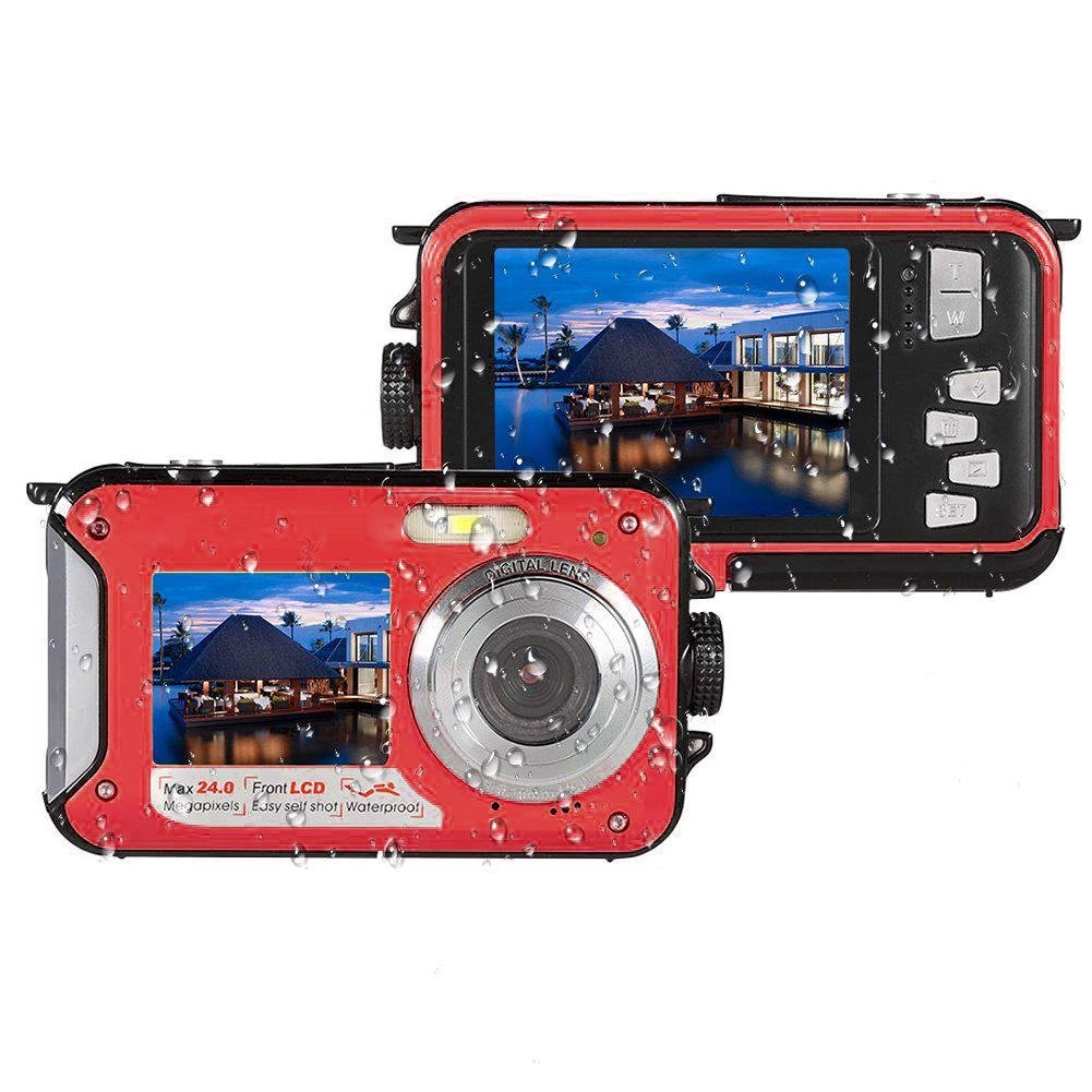 Teepao Underwater Digital Camera 24.0MP Waterproof Dual Screen Full HD 1080P Shockproof Video Camcorder Point and Shoot Self Shot Camera with Flash Light (Red)