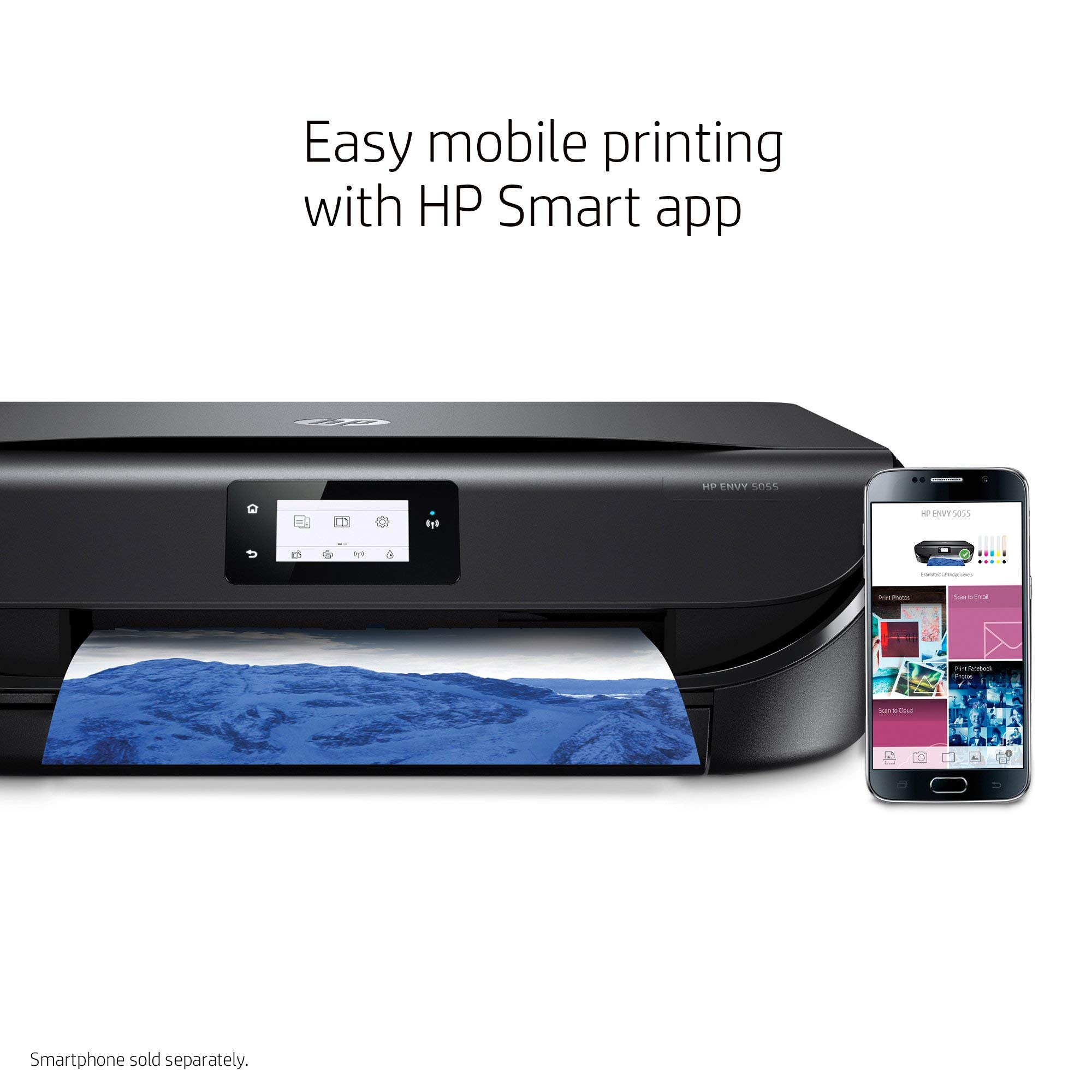 HP Envy 5055 Wireless All-in-One Photo Printer, HP Instant Ink & Amazon Dash Replenishment Ready (M2U85A) (Renewed) by HP (Image #5)