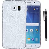 S6 Case, Galaxy S6 Case, iYCK Ultra Slim Thin Premium Flexible Soft TPU Extra Grip Anti-Scratch Protective Transparent Border Back Cover for Samsung Galaxy S6 - Lush White Rose