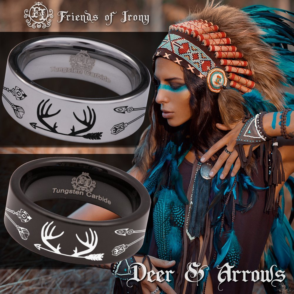 Fine Jewelry Designed Fit for Men and Women Use Wedding Band and Anniversary Ring Friends of Irony Tungsten Carbide Deer and Arrows Ring 8mm