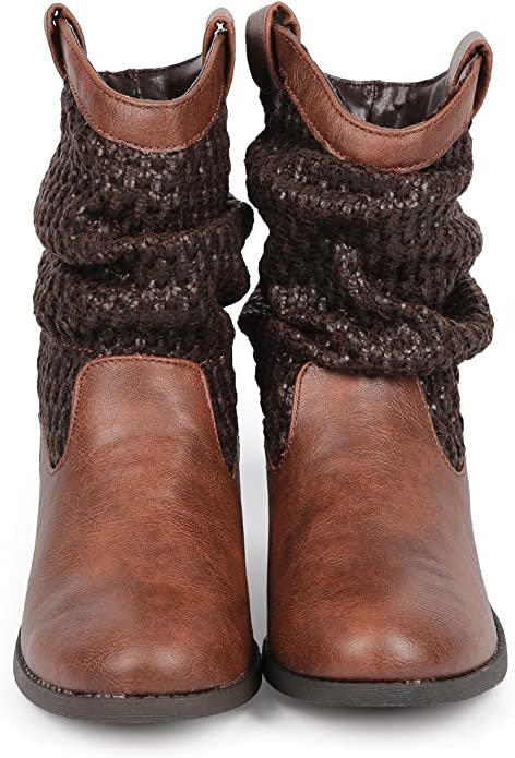 Qupid Women Suede Almond Toe Vertical Fringe Metallic Block Heel Bootie DG31 Toffee