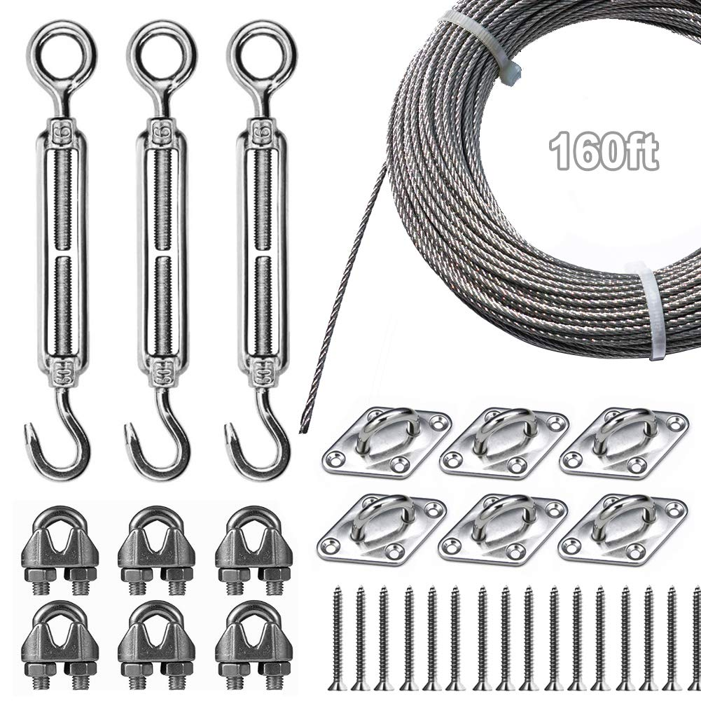 Newpow High-Strength Stainless Steel String Lights Hanging Kit for Patio, Outdoor String Lights, Lights Hanging Installation Kit with Great Durability and Rust Resistance, Withstand Harsh Environment