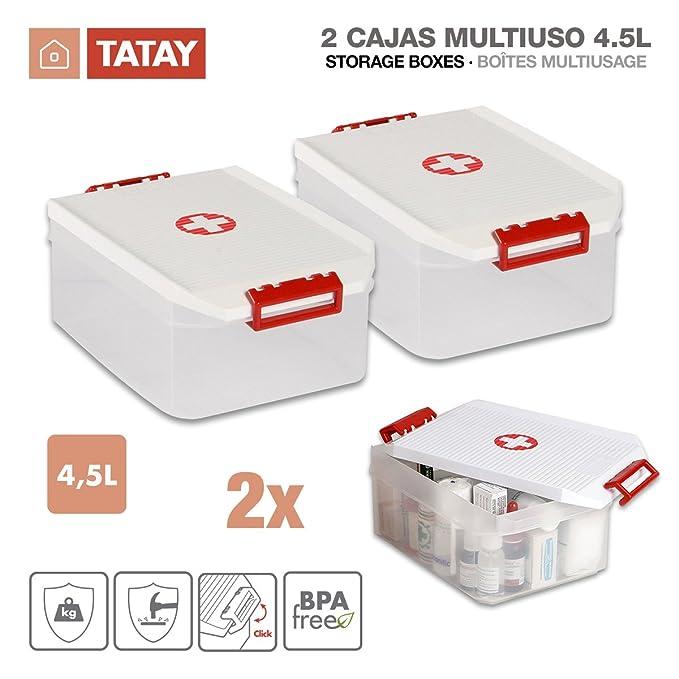TATAY 1150209 - Lote de 2 Botiquines, Cajas Multiusos de 4.5 Litros de Capacidad por Unidad, Color Blanco con el Simbolo de la Cruz Roja, Medidas 19 x 30 x ...