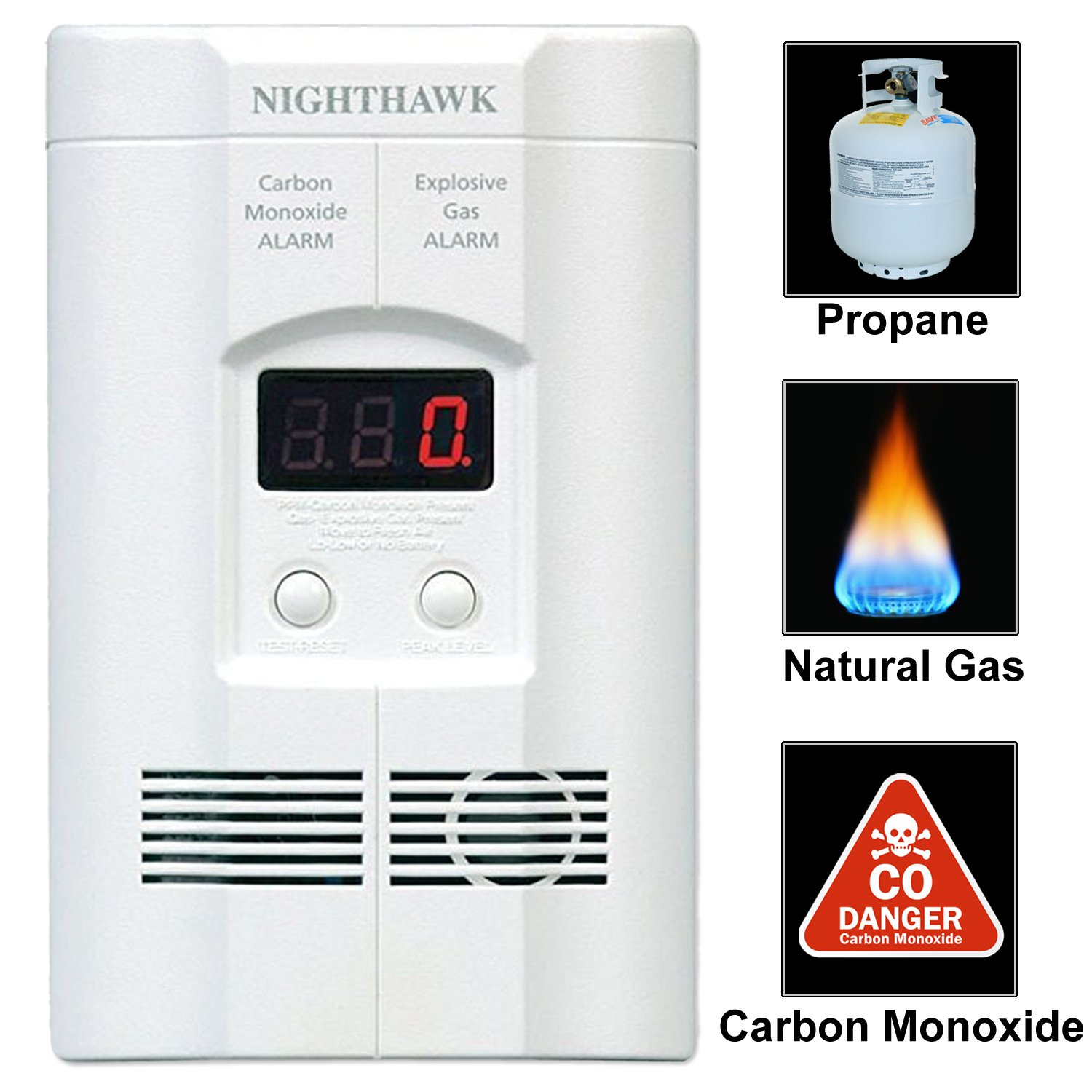 Kidde AC Plug-in Carbon Monoxide and Explosive Gas Detector Alarm | Nighthawk Sensor Technology | Model # KN-COEG-3 by Kidde