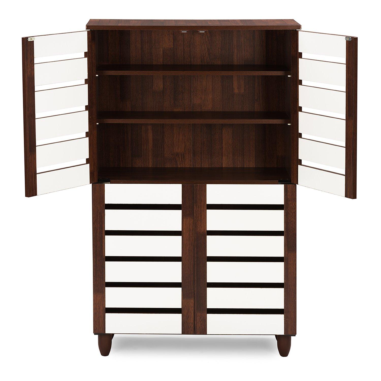 Amazon.com: Wholesale Interiors Baxton Studio Gisela Oak and White 2-Tone Shoe  Cabinet with 4 Door: Kitchen & Dining