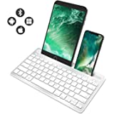 Multi-Device Bluetooth Keyboard,COO Wireless Keyboards with Built-in Stand for iOS, Android, Windows,Tablets and Smartphone(Silver)