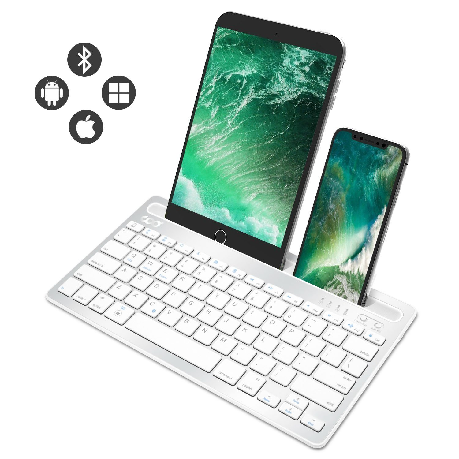 Bluetooth keyboard, Dual Channel Multi-device Universal Wireless Bluetooth Rechargeable Keyboard with Sturdy Stand for Tablet Smartphone PC Windows Android iOS Mac(Silver)