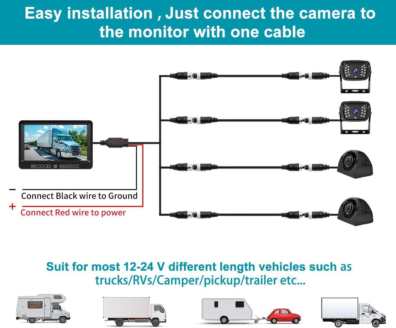 Backup Camera and 71080P HD Monitor DVR Recorder for rv//car//Trucks//traliers//Camper//Motorhome//Van//Pickup//SUV Xroose Rearview Camera Touch Button152/° Wide View Night Vision Ip69k Waterproof FY04