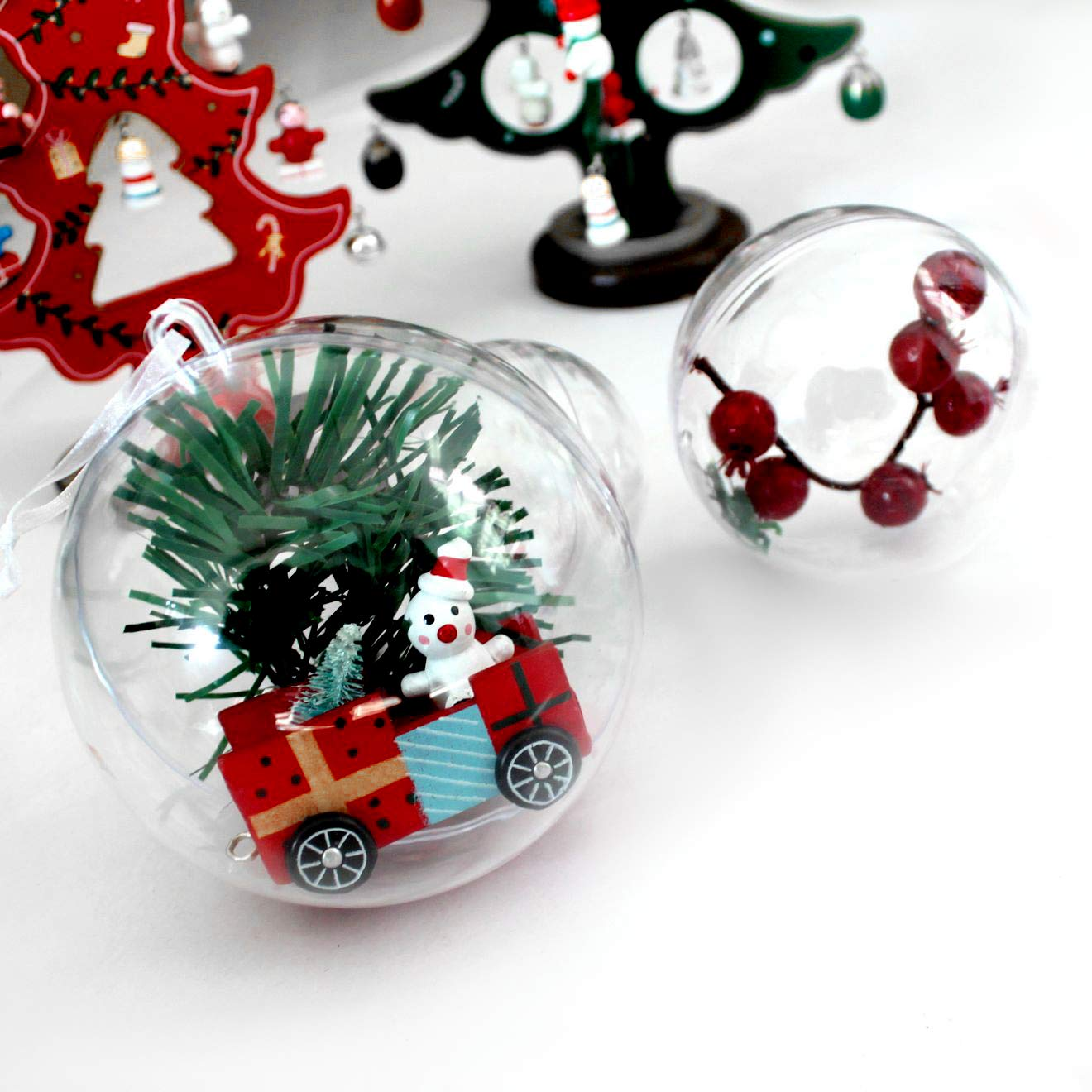 Creative Christmas Decoration Ornaments for Crafts Pack of 12 Swonuk Clear Plastic Fillable Ball Ornament Baubles SuperWiner 80mm