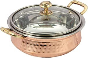 Indian Hammered Copper Serving Bowl for Food Soup with Handle and Glass Lid Decorative Small Seveware