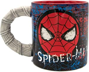 Silver Buffalo Marvel Comics Spiderman Brick Web Slinger with Sculpted Handle Ceramic Mug, 20-Ounce, Red and Blue