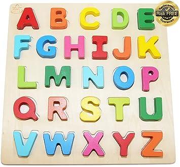 Holzspielzeug 2 Holz-Puzzles spielerisches Erlernen von Zahlen und Buchstaben 3+