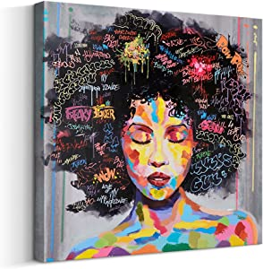 FREE CLOUD Crescent Art Abstract Pop Black Art African American Wall Art Afro Woman Painting on Canvas Print Wall Picture for Living Room Bedroom Wall Decor (A Framed, 28 x 28 inch)