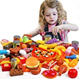 Tencoz Play Food Set, 139 Pieces Play Food Kitchen Toys with Fruits Vegetables Drinks Etc Pretend Play Food Toys Gifts for Ki