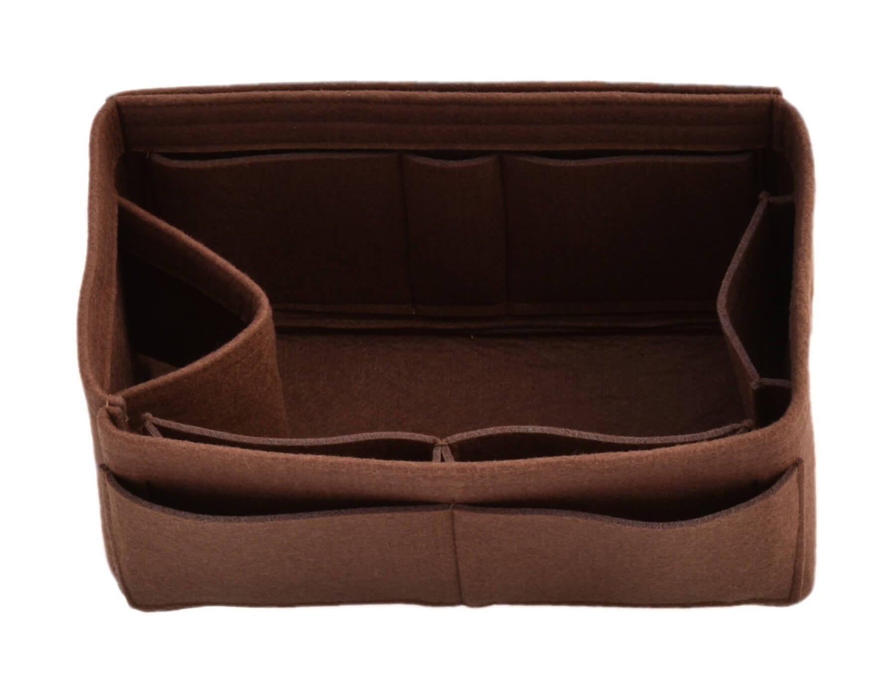 Felt Purse Handbag Tote Organizer Insert - Multi Pocket Storage Liner & Shaper (Medium, Brown)