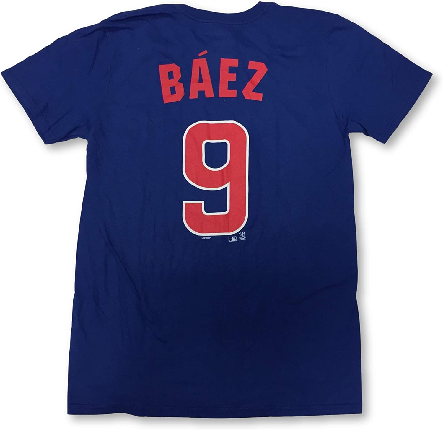 Majestic Javier Báez Adult Men's #9 Player Name and Number Crew Neck Jersey T-Shirt