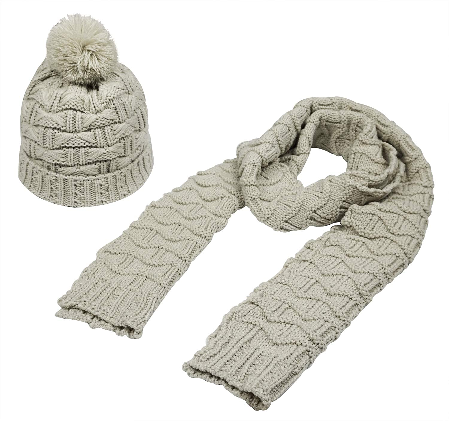 dd63cc0e5 Women Fashion Winter Warm Knitted Scarf and Hat Set Skullcaps