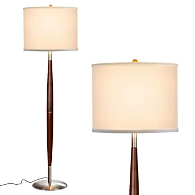 Brightech Lucas LED Pole Floor Lamp - Modern Living Room Light Fits Beside The Sofa & In Corners - Tall Standing Drum Shade Lighting For Offices, Bedrooms