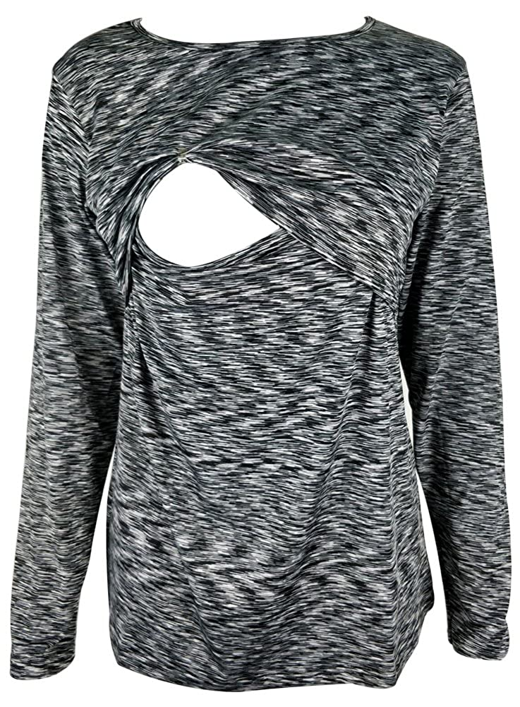 Amazing Speed Women's Casual Breastfeeding Shirt Striped Patchwork Long Sleeve Maternity and Nursing Tops
