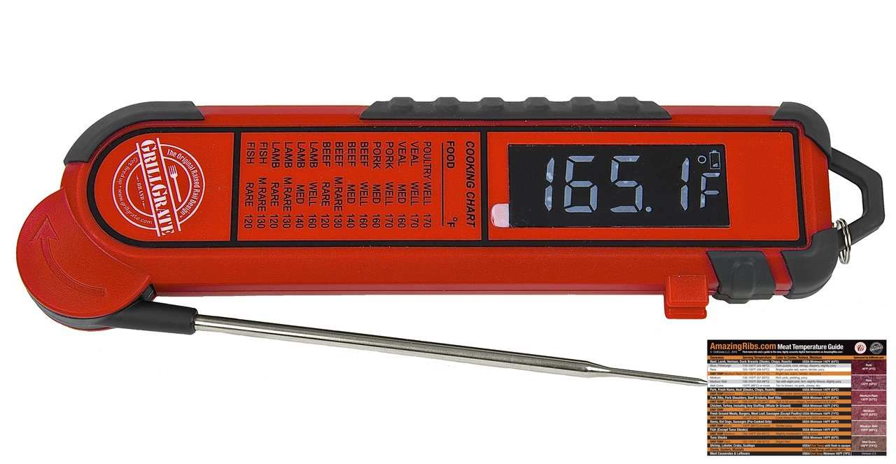 GrillGrate Edition Professional Instant Read Thermometer+ AmazingRibs.com Meat Temperature Guide Magnet