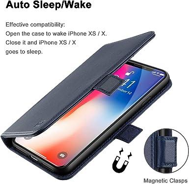 ZOVER Étui portefeuille pour iPhone Xs, étui en cuir véritable, fonction support, emplacements pour cartes et fermeture magnétique pour Apple iPhone ...