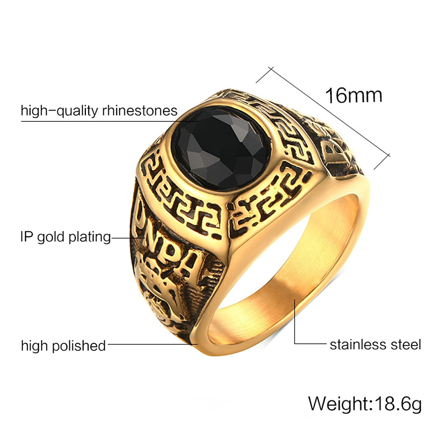 Aooaz Men's Stainless Steel Ring Gold Plated Round Black Stone Royal Pattern Retro Wedding Band
