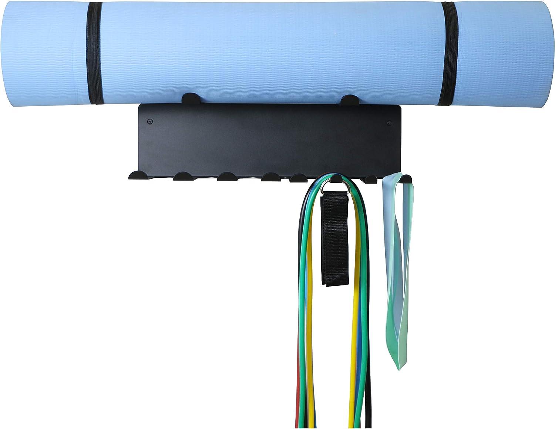 Foam Roller Black Jump Ropes Yoga Mat 16.5 Resistance Bands Rack Wall Mount Home Gym Equipment Storage Rack for Resistance Bands Chains