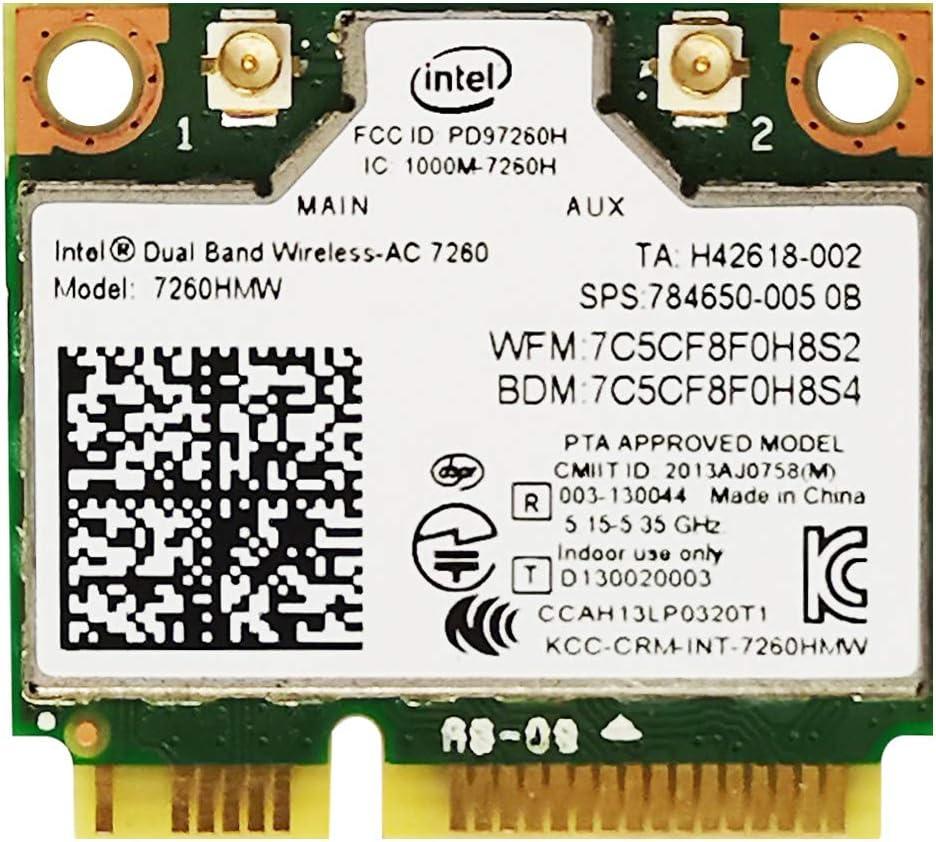POINWER Dual Band WiFi Wireless-Access 7260 AC 7260HMW Network Adapter PCI Express Half Mini Card 2.4/5GHz Bluetooth 4.0 Wireless 802.11ac WiFi Card Speed 867 Mbps