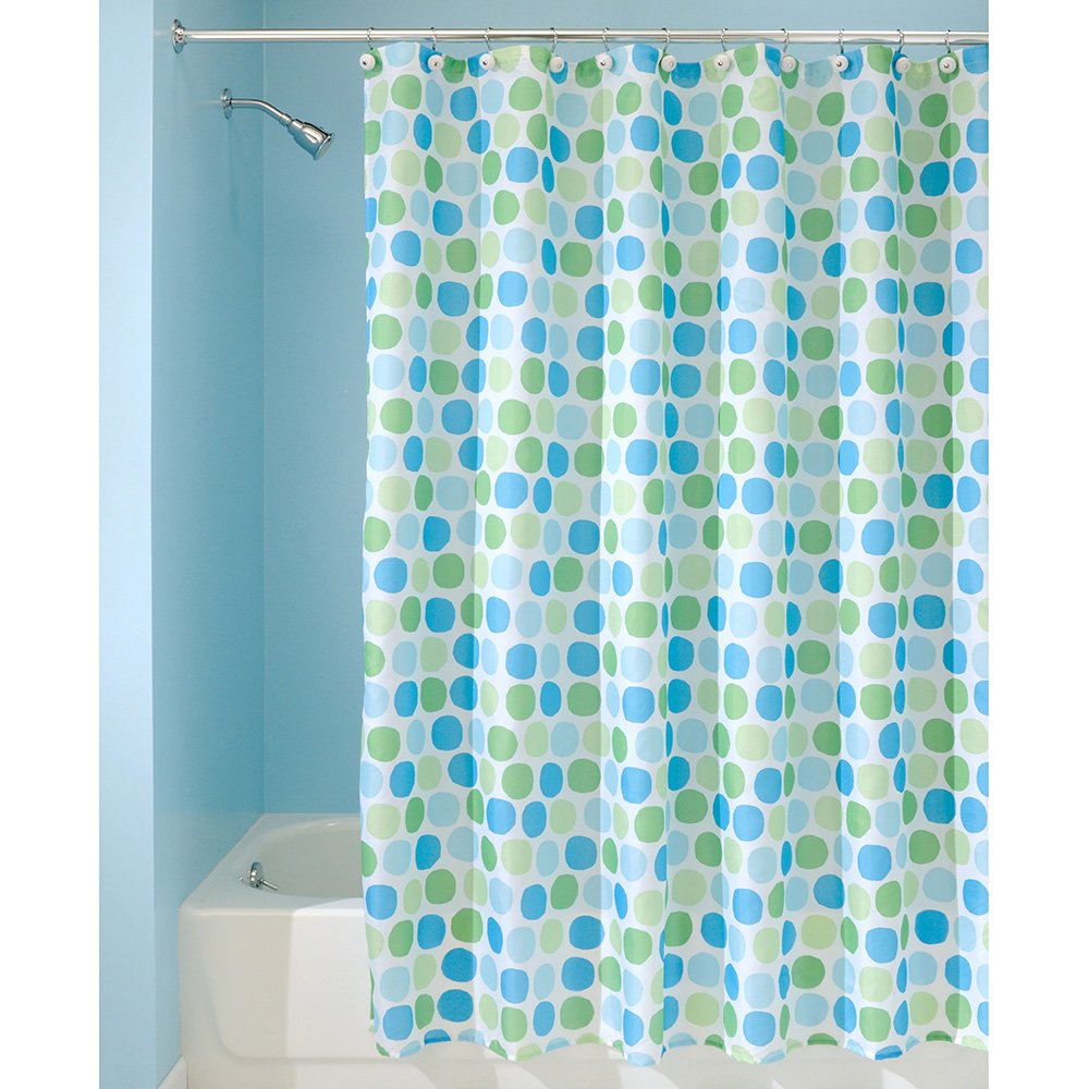 Water Repellant Fabric Shower Curtain Bathroom Bath Decor Blue Green ...