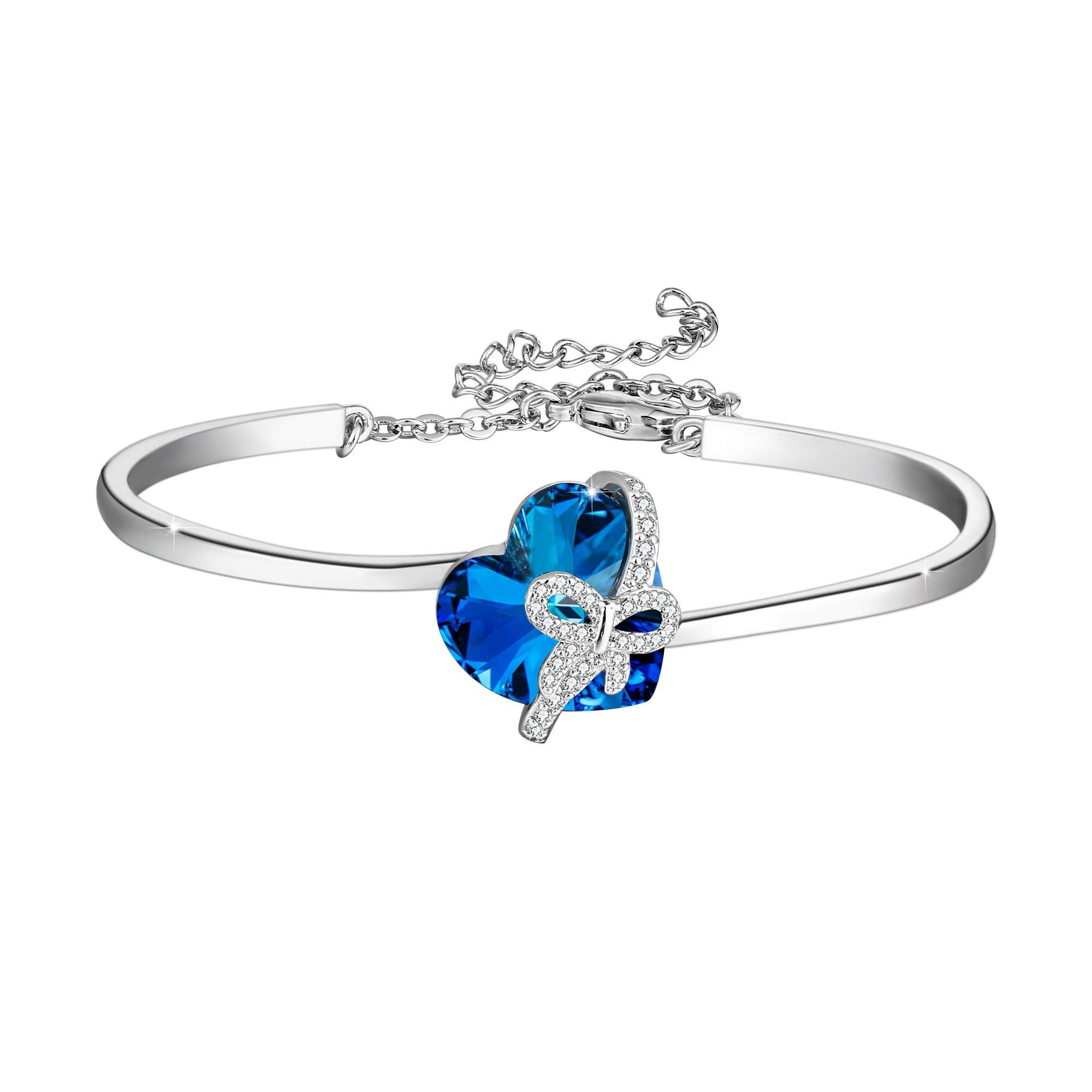 EleQueen Women's Swarovski Crystals Cubic Zirconia Butterfly Heart Pendant Bangle Bracelet Sapphire