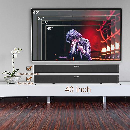 LONPOO 60W TV Barra de Sonido,Bluetooth 5.0 + Subwoofer Incorporado para TV, con Ports HDMI , USB / óptico / RCA / AUX-IN, DSP Estéreo Bass Adudio Diseñado para Cine en Casa (