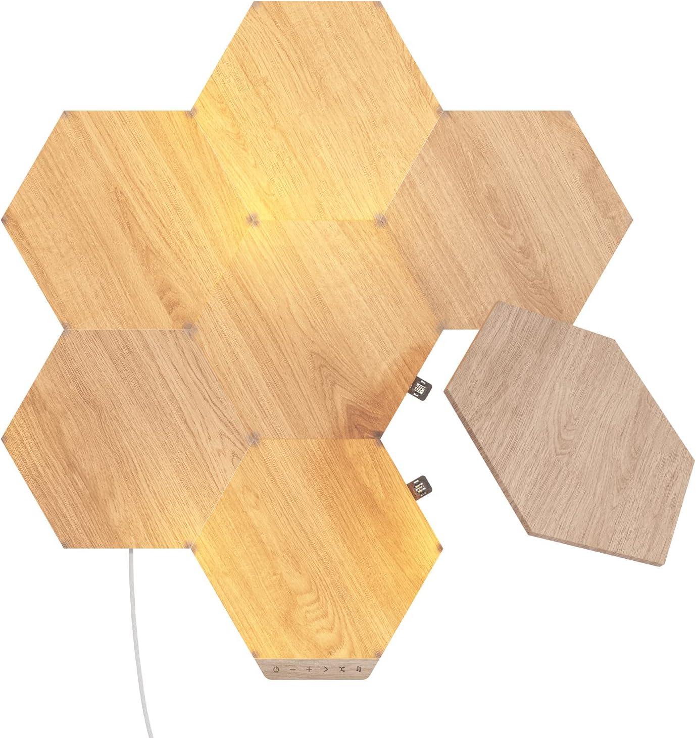 Nanoleaf Elements Hexágonos Efecto Madera Starter Kit - 7 Panels Luminosos