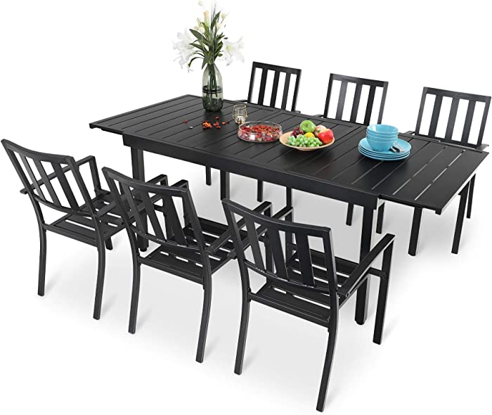 PHI VILLA 7 Piece Patio Dining Table Set, Expandable Rectangular Metal Dining Table & 6 Steel Chairs for Outdoor, Deck, Yard