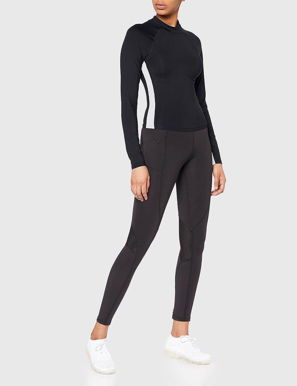 AURIQUE Womens Long Sleeve Cropped Side Stripe Rash Guard Brand
